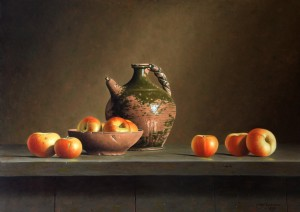 'Apples and an oil pitcher' - an example of Stefaan Eyckmans' superb work