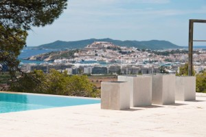 The view towards Ibiza Town from a superb villa in Jesus
